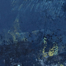 "Load image into Gallery viewer, Closeup detail of indigo abstract coastal wall art ""Indigo Blue,"" fine art print by Victoria Primicias"