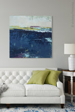 "Load image into Gallery viewer, Indigo abstract beach wall decor ""Indigo Blue,"" wall art print by Victoria Primicias, decorates the living room."