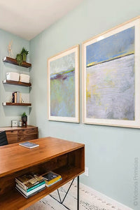 "Contemporary abstract coastal wall decor ""Inner Ocean,"" downloadable art by Victoria Primicias, decorates the office."