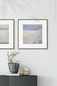 "Yellow and gray abstract beach artwork ""Inner Ocean,"" fine art print by Victoria Primicias, decorates the entryway."