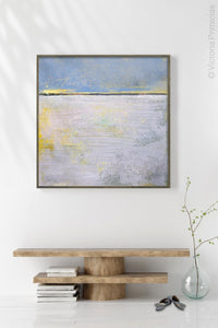 "Yellow and gray abstract coastal wall decor ""Inner Ocean,"" metal print by Victoria Primicias, decorates the hallway."