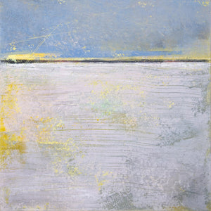 "Yellow and gray abstract coastal wall decor ""Inner Ocean,"" metal print by Victoria Primicias"