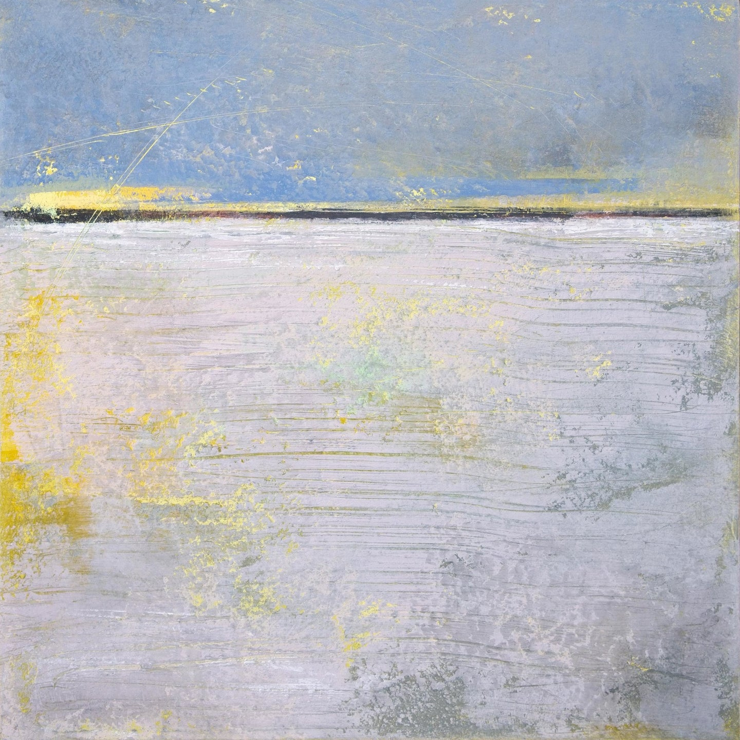 Yellow and gray abstract coastal wall decor