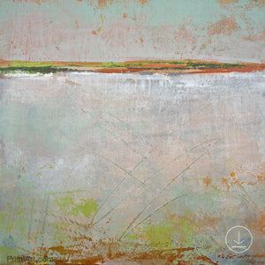 "Neutral color abstract ocean painting ""Ivory Shore,"" digital print by Victoria Primicias"
