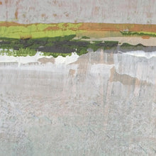 "Load image into Gallery viewer, Closeup detail of gray abstract landscape art ""Ivory Shore,"" giclee print by Victoria Primicias"