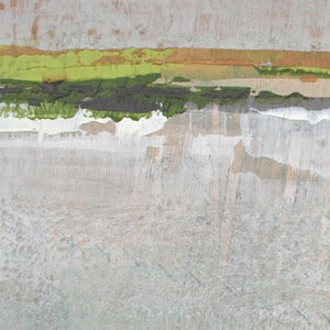 "Closeup detail of gray abstract landscape art ""Ivory Shore,"" giclee print by Victoria Primicias"