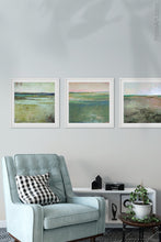 "Load image into Gallery viewer, Verdant green abstract landscape art ""Jade Lea,"" digital print by Victoria Primicias, decorates the living room."