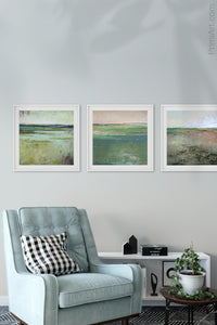 "Verdant green abstract landscape art ""Jade Lea,"" digital print by Victoria Primicias, decorates the living room."