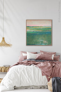 "Verdant green abstract landscape art ""Jade Lea,"" digital print by Victoria Primicias, decorates the bedroom."