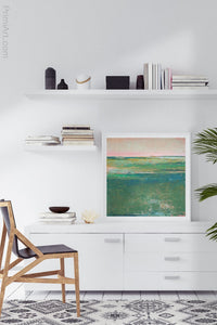 "Verdant green abstract landscape painting ""Jade Lea,"" digital print by Victoria Primicias, decorates the office."