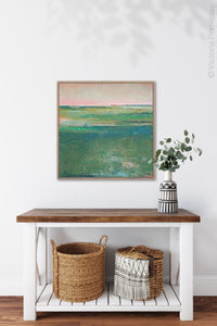 "Verdant green abstract landscape painting ""Jade Lea,"" digital print by Victoria Primicias, decorates the entryway."