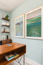"Load image into Gallery viewer, Verdant green abstract coastal wall art ""Jade Lea,"" digital print by Victoria Primicias, decorates the office."