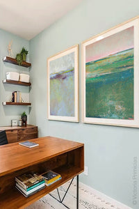 "Verdant green abstract coastal wall art ""Jade Lea,"" digital print by Victoria Primicias, decorates the office."