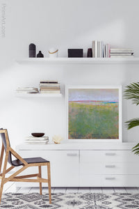 "Green abstract landscape painting ""Kelly Corridor,"" fine art print by Victoria Primicias, decorates the office."