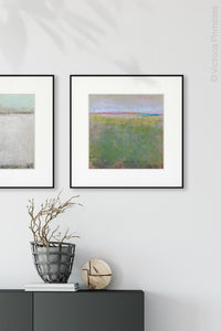 "Green abstract landscape painting ""Kelly Corridor,"" fine art print by Victoria Primicias, decorates the entryway."
