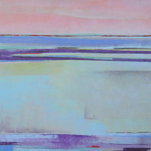 "Purple abstract ocean painting ""Lake Aubergine,"" modern original art by Victoria Primicias"