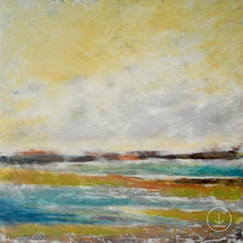 "Load image into Gallery viewer, Coastal abstract landscape painting ""Lapping Layers,"" digital download by Victoria Primicias"