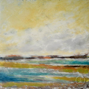 "Coastal abstract landscape painting ""Lapping Layers,"" digital download by Victoria Primicias"
