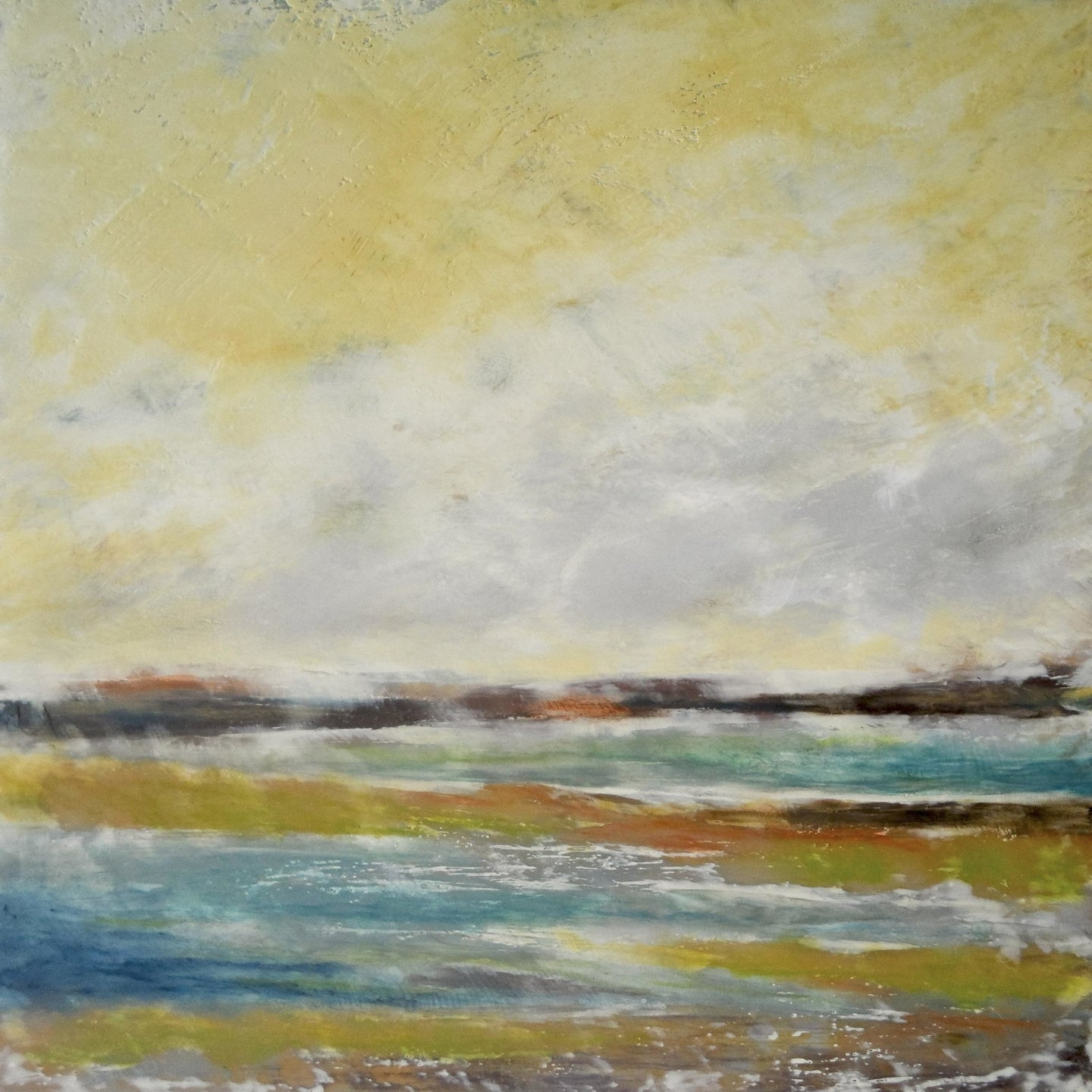 Yellow coastal abstract landscape painting