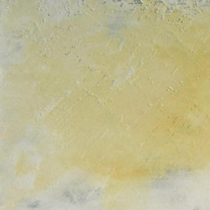 "Closeup detail of yellow coastal abstract landscape painting ""Lapping Layers,"" giclee print by Victoria Primicias"