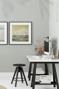 "Yellow coastal abstract ocean painting ""Lapping Layers,"" canvas wall art by Victoria Primicias, decorates the bathroom."