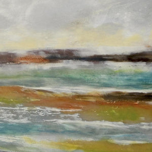 "Closeup detail of yellow coastal abstract ocean painting ""Lapping Layers,"" canvas wall art by Victoria Primicias"