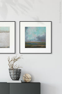 "Teal abstract landscape art ""Last Soiree,"" canvas wall art by Victoria Primicias, decorates the entryway."