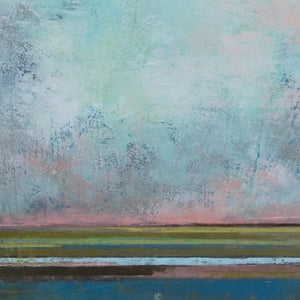 "Closeup detail of teal abstract landscape painting ""Last Soiree,"" canvas print by Victoria Primicias"