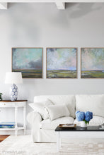 "Load image into Gallery viewer, Teal abstract landscape painting ""Last Soiree,"" canvas print by Victoria Primicias, decorates the living room."