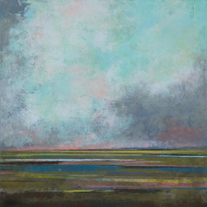 "Teal abstract landscape art ""Last Soiree,"" canvas wall art by Victoria Primicias"