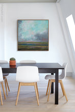 "Load image into Gallery viewer, Teal abstract landscape art ""Last Soiree,"" canvas wall art by Victoria Primicias, decorates the office."