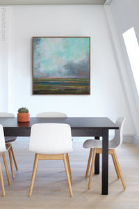 "Teal abstract landscape art ""Last Soiree,"" canvas wall art by Victoria Primicias, decorates the office."