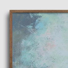 "Load image into Gallery viewer, Closeup detail of teal abstract landscape art ""Last Soiree,"" canvas wall art by Victoria Primicias"