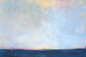 "Serene horizon abstract beach painting ""Local Celebrity,"" blue original art by Victoria Primicias"