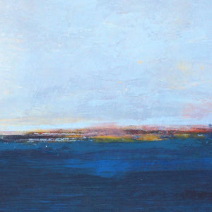 "Closeup detail of serene horizon abstract landscape art ""Local Celebrity,"" blue original painting by Victoria Primicias"