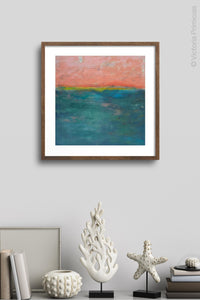 "Modern abstract ocean wall art ""Lost Emerald,"" digital print by Victoria Primicias, decorates the wall."
