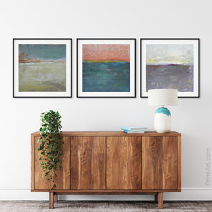 "Modern abstract ocean wall art ""Lost Emerald,"" digital print by Victoria Primicias, decorates the entryway."