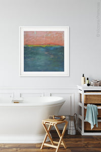 "Contemporary abstract coastal wall art ""Lost Emerald,"" fine art print by Victoria Primicias, decorates the bathroom."