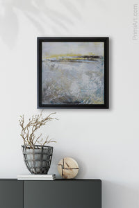 "Yellow and gray abstract landscape art ""Lost Letters"" decorates an entryway wall."