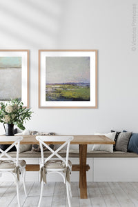 "Serene abstract landscape painting ""Manana Margarita,"" digital print by Victoria Primicias, decorates the dining room."