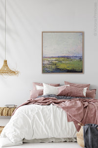 "Serene abstract ocean wall art ""Manana Margarita,"" digital print by Victoria Primicias, decorates the bedroom."