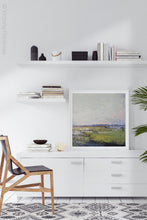 "Load image into Gallery viewer, Serene abstract landscape painting ""Manana Margarita,"" digital print by Victoria Primicias, decorates the office."