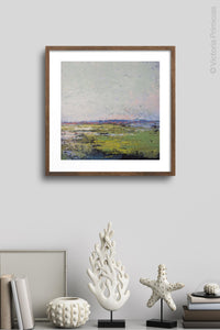 "Serene abstract ocean wall art ""Manana Margarita,"" digital print by Victoria Primicias, decorates the wall."