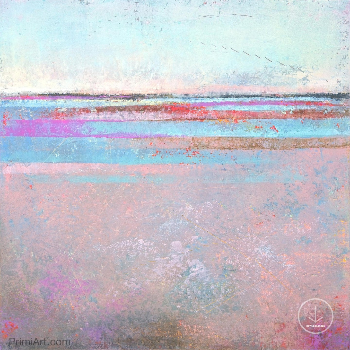 Sweet square abstract beach painting