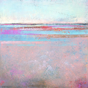 "Pink abstract beach painting ""Marathon Miles,"" canvas wall art by Victoria Primicias"
