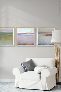 "Pink abstract beach wall art ""Marathon Miles,"" canvas art print by Victoria Primicias, decorates the living room."
