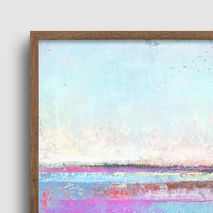 "Closeup detail of pink abstract beach painting ""Marathon Miles,"" canvas wall art by Victoria Primicias"