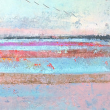 "Load image into Gallery viewer, Closeup detail of pink abstract beach art ""Marathon Miles,"" canvas print by Victoria Primicias"