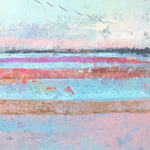 "Closeup detail of pink abstract beach art ""Marathon Miles,"" canvas print by Victoria Primicias"