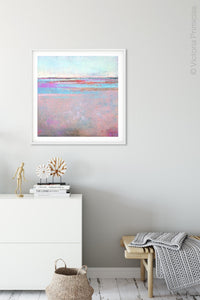 "Pink abstract beach painting ""Marathon Miles,"" canvas wall art by Victoria Primicias, decorates the entryway."